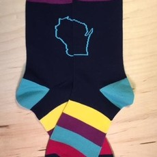 Orange Pops Crew Socks - Stripes Wisconsin