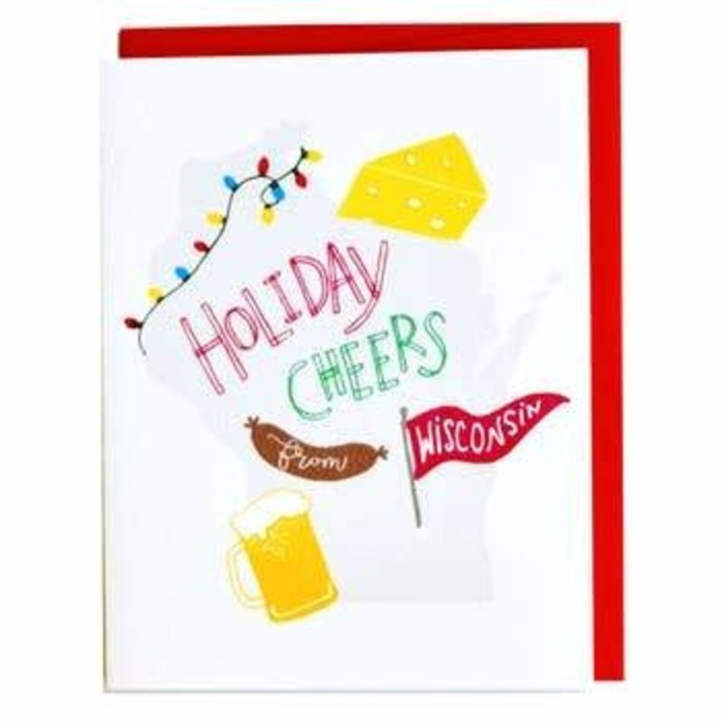 Cracked Designs Greeting Card - Holiday Cheers from Wisconsin!