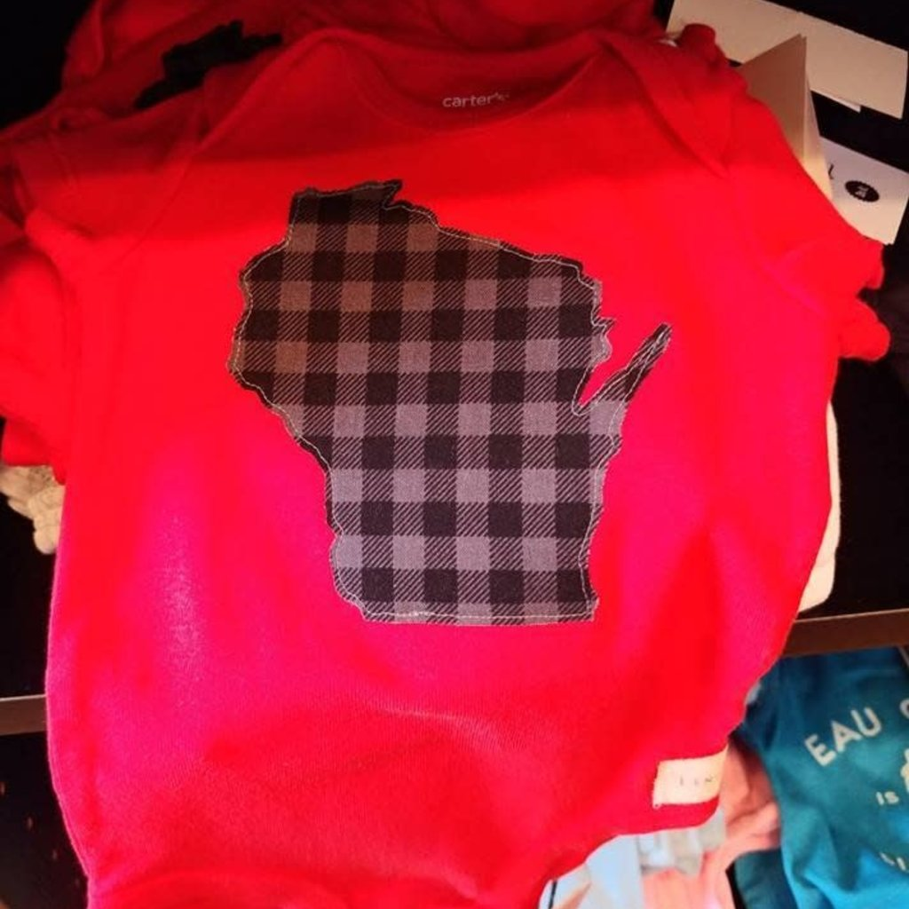 Lincs & Fins Red Plaid Short Sleeved Onesie