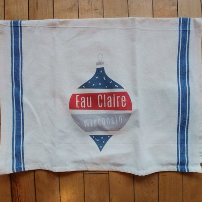 Volume One Eau Claire WI Holiday Ornament Kitchen Towel
