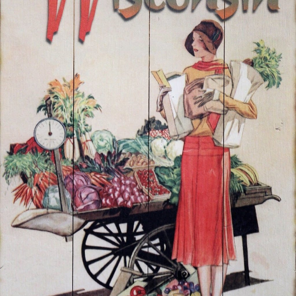Volume One Wisconsin Fresh Produce - Wooden Sign