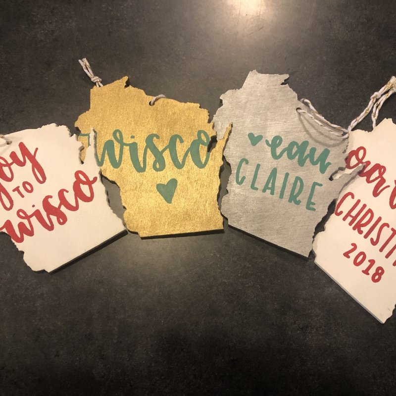 Jenna Krosch Wisconsin Wood Shaped Ornament (Assorted Colors/Words)