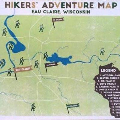 Gitchi Adventure Goods Eau Claire Hikers Adventure Map 11x17