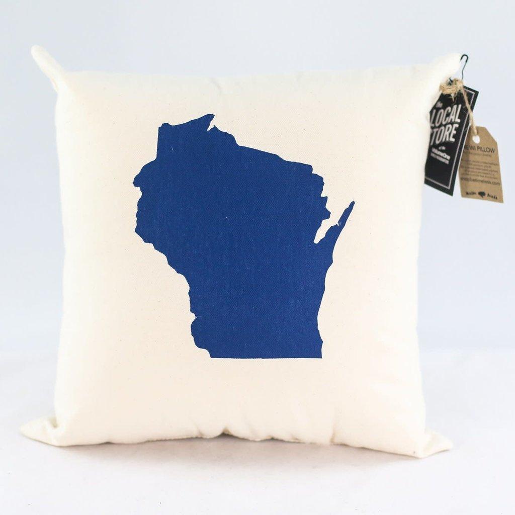 Proud Dweller Wisconsin State Pillow - Navy