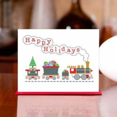 Man vs. George Designs (WI) Greeting Card - Jingle Bells & Whistles Train