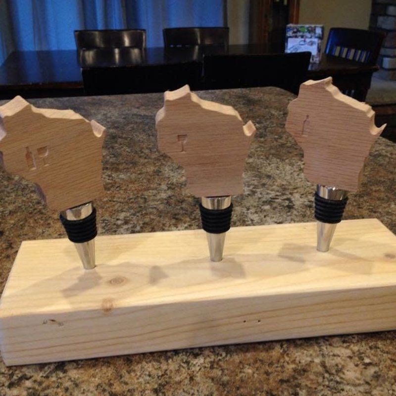 Riverside Creations and Woodworking Wood Wisconsin Bottle Stopper