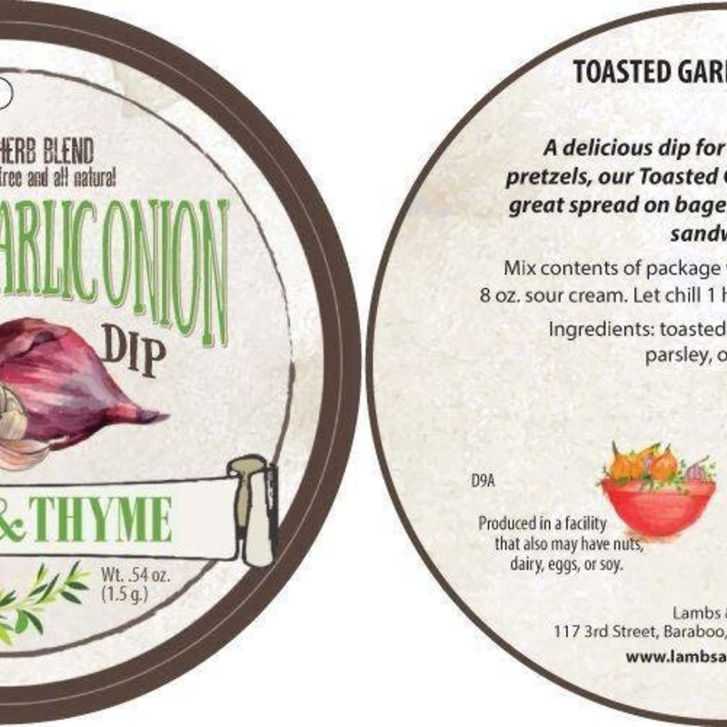 Lambs & Thyme Herb Blend - Toasted Garlic and Onion Dip