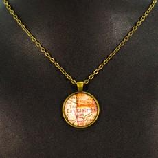 Volume One Vintage Eau Claire Map Pendant - Small