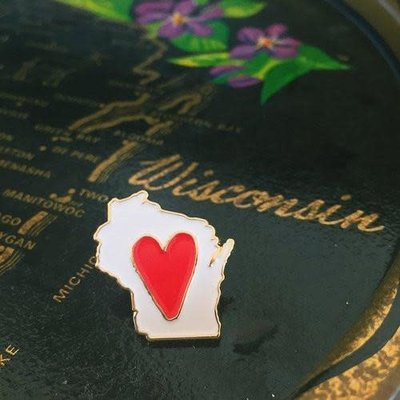 The Wisconsin Maker Lapel Pin - Wisconsin Love (White w/ Heart)