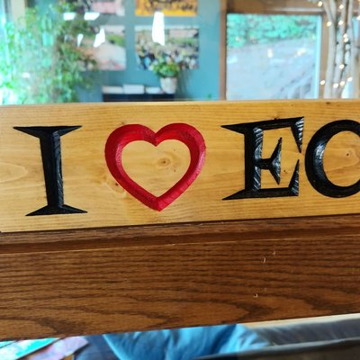 Riverside Creations and Woodworking I Heart EC Wood Block - Large