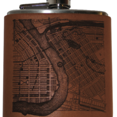 Tactile Craftworks Leather Eau Claire Map Flask