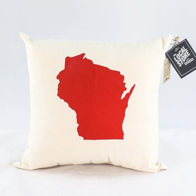 Proud Dweller Wisconsin State Pillow - Red