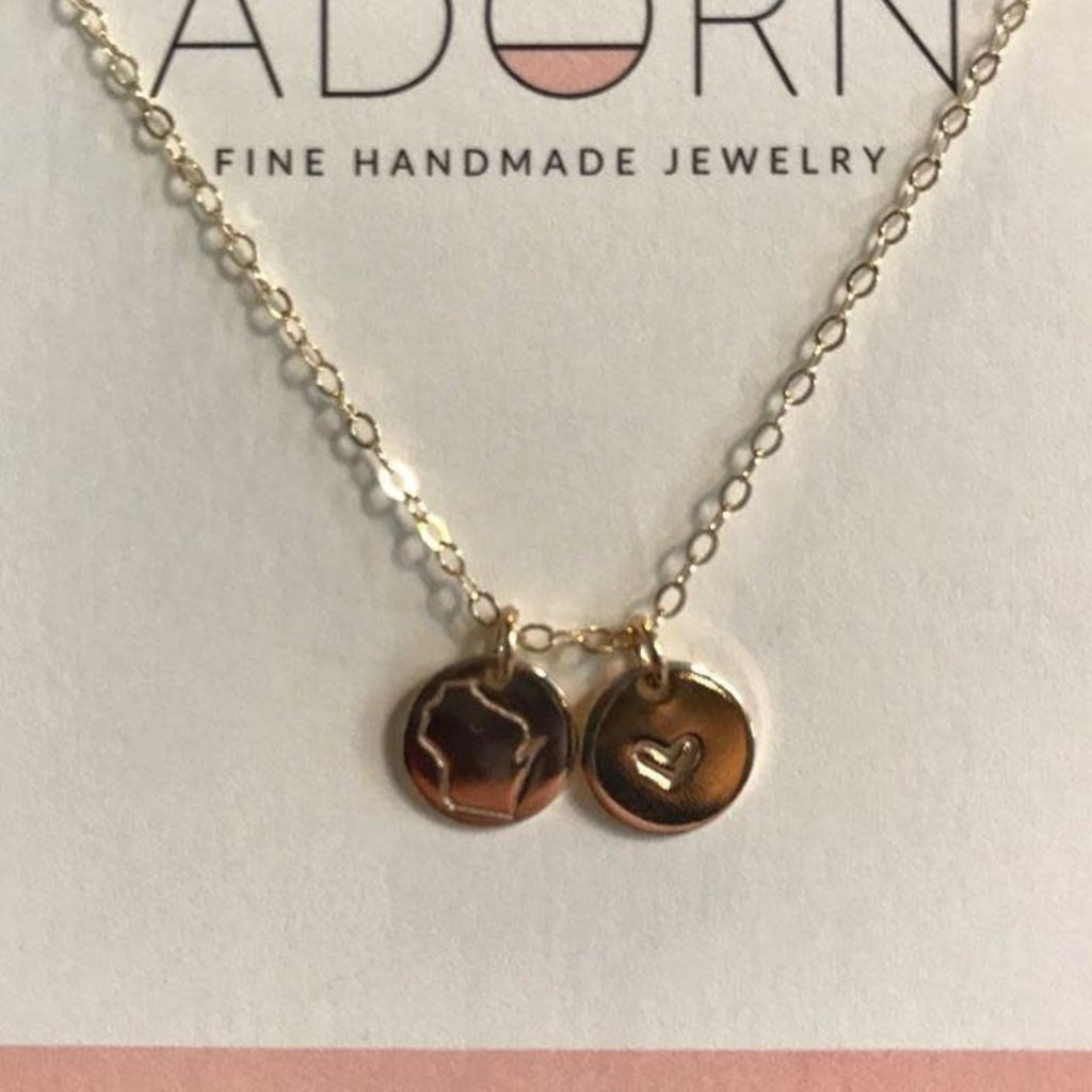 Adorn Jewelry Wisco Heart Disc Necklace - Gold
