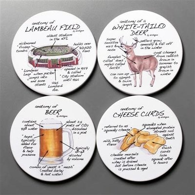 dishique Anatomy of Wisconsin Coaster Set (4)