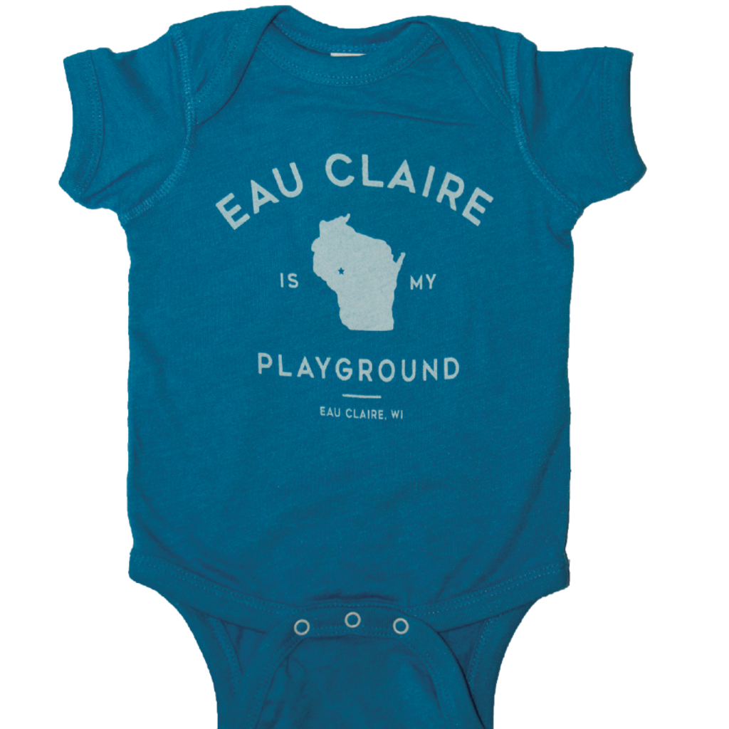 Giltee MKE Eau Claire is My Playground Teal Onesie