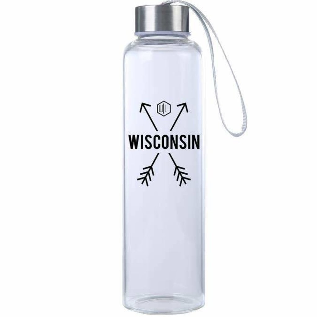 Volume One Glass Water Bottle Wisconsin Arrows