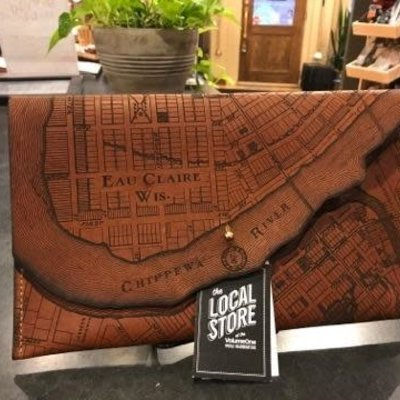 Tactile Craftworks Eau Claire Map Leather Clutch