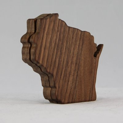 Volume One Wisconsin Wood Coaster Set - Walnut (Dark)