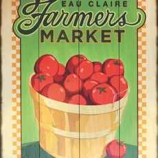 Volume One Eau Claire Farmers Market Wooden Sign