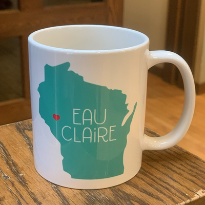 Volume One Eau Claire, WI State Mug w/ Heart (Teal)