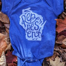 Orchard Street Apparel Wisconsin Represent Onesie - Blue