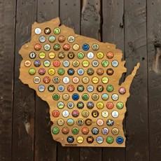 Beer Cap Maps Wisconsin Beer Cap Map - Wood