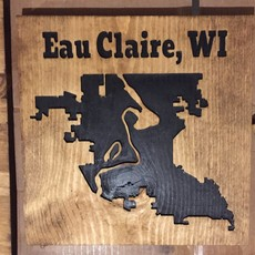 Riverside Creations and Woodworking Wood Sign - Eau Claire Boundaries