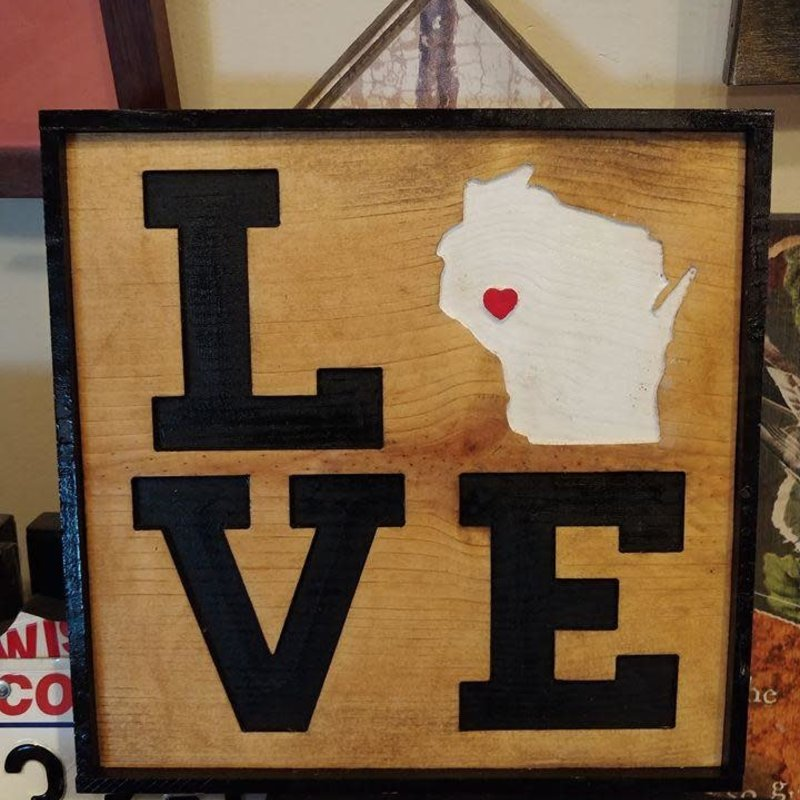 Riverside Creations and Woodworking Square Wood Love W/Heart Sign