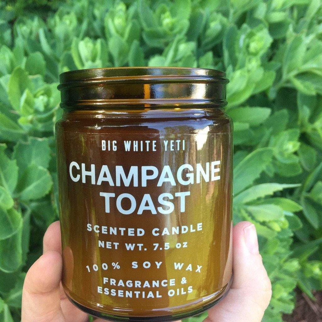 Big White Yeti Amber Glass Candle: Champagne Toast (8 oz.)
