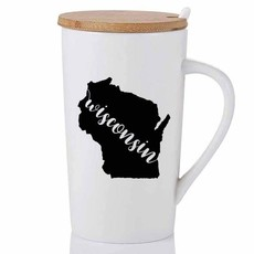 Volume One Wisconsin State Ceramic Mug w/ Wood Lid and Spoon