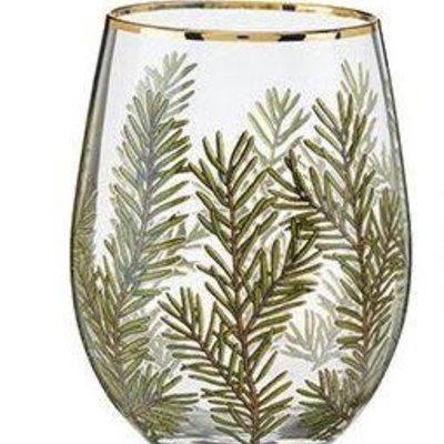 Volume One Stemless Wine Glass - Woodland Evergreen