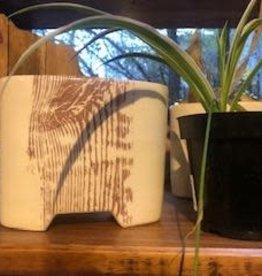 Tandem Ceramics White Ceramic Vase - Woodgrain