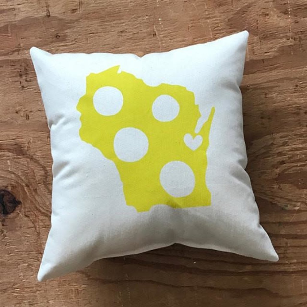 Proud Dweller Wisconsin State Pillow - Cheese