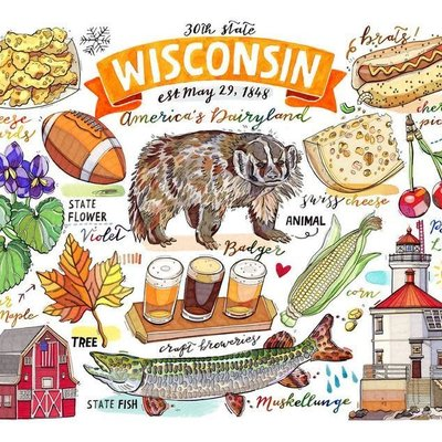 LouPaper Wisconsin Collage Print Horizontal (11X14)
