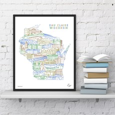 Townsville Art Eau Claire State Illustrated Matted Print (11x14) - Colors Vary