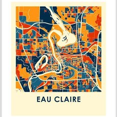 iLikeMaps Eau Claire Map Print Color  - 8X10