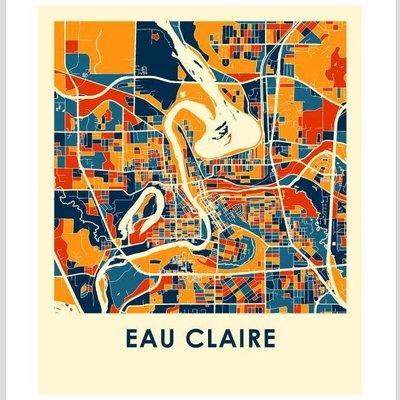 iLikeMaps Eau Claire Map Print Color W/Foam Board - 8X10