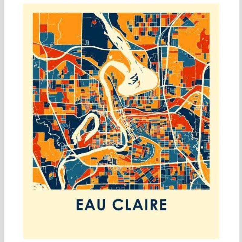 iLikeMaps Eau Claire Map Print Color  - 8X10
