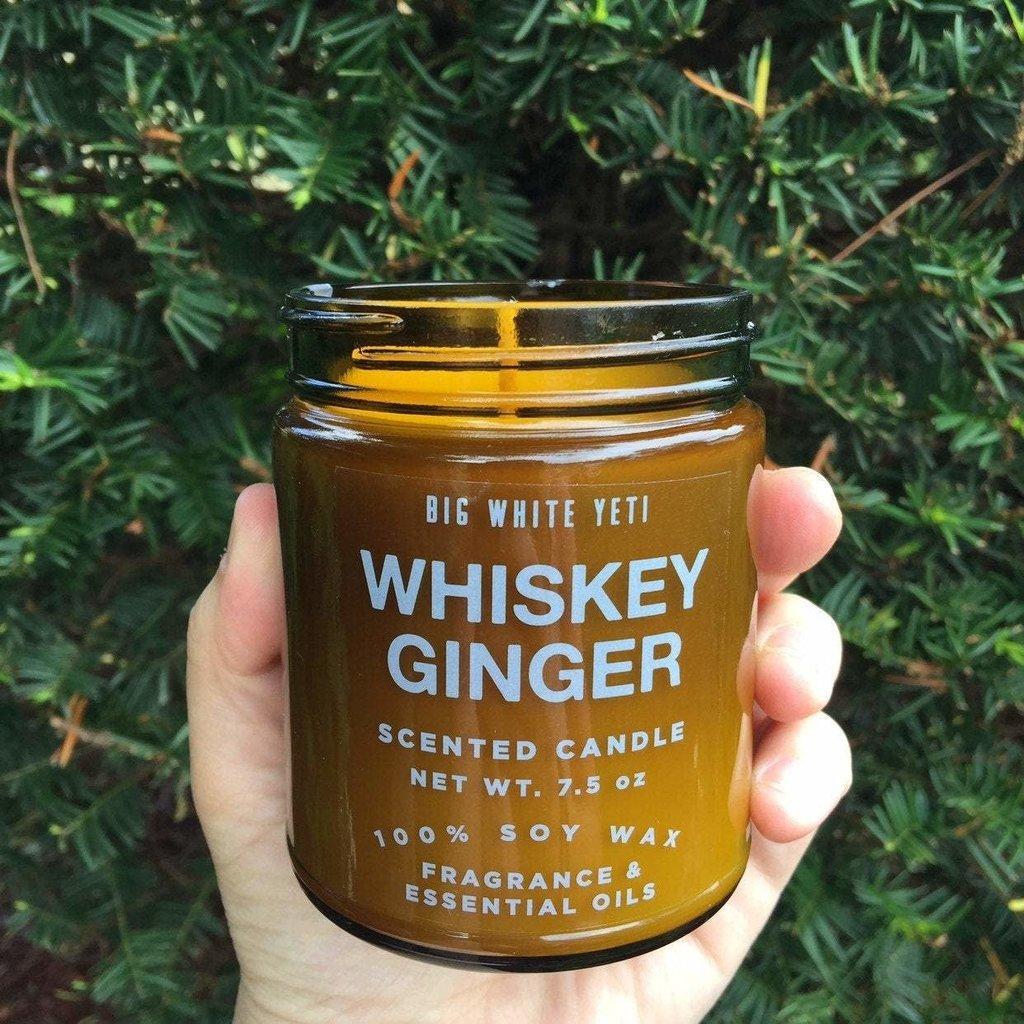 Big White Yeti Amber Glass Candle: Whiskey Ginger (8 oz.)