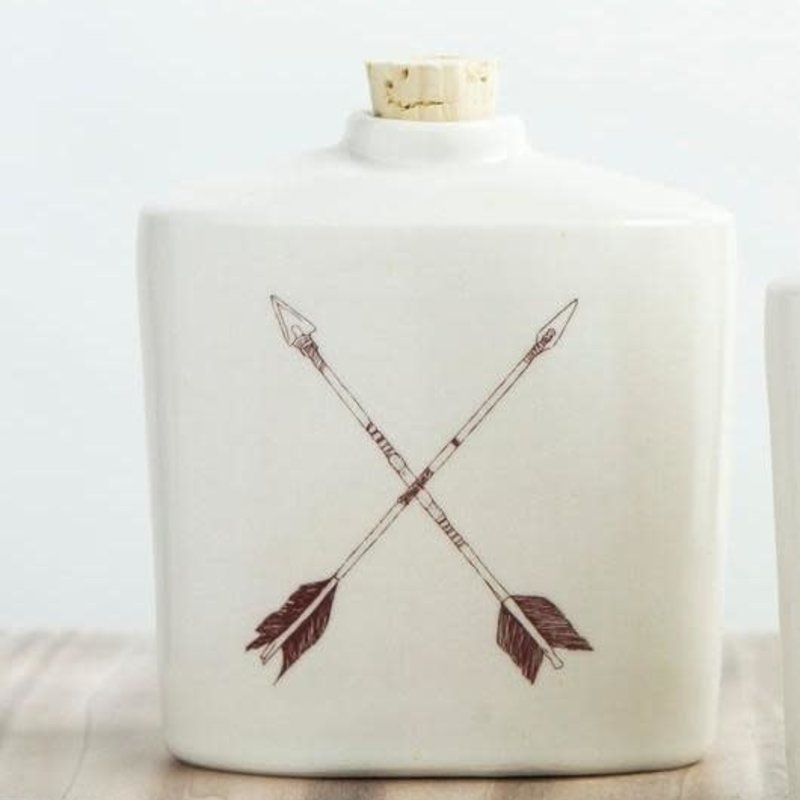 Tandem Ceramics Ceramic Flask - X Arrows
