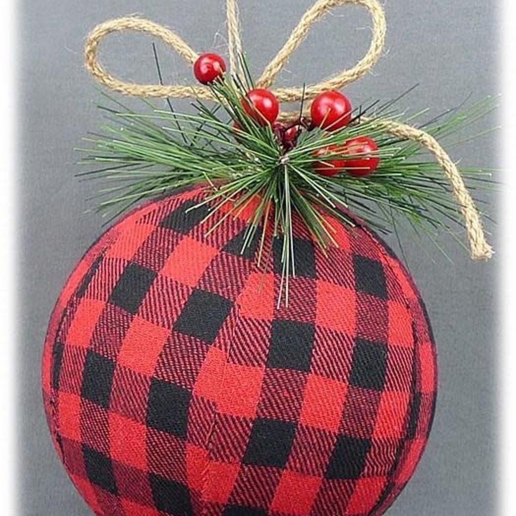 "Volume One Ornament - Buffalo Plaid Ball (5.5"")"