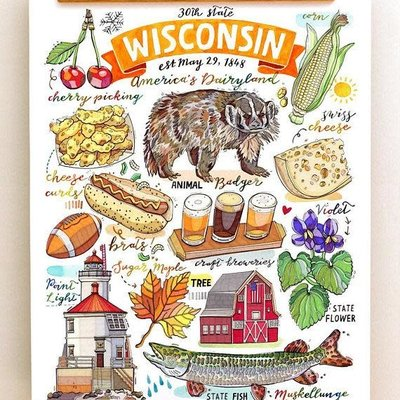 LouPaper Wisconsin Collage Print Vertical (8x10)