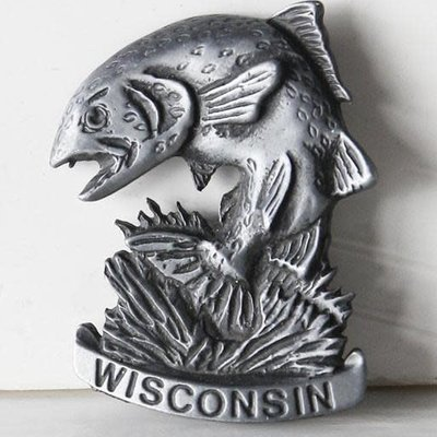 Volume One WI Pewter Fish Magnet