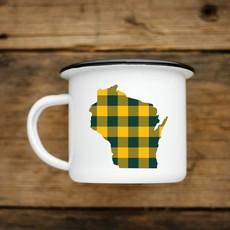 Volume One Enamel Mug-Wisconsin Green/Gold Plaid
