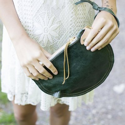 Permanent Baggage Leather Circle Wristlet Brass