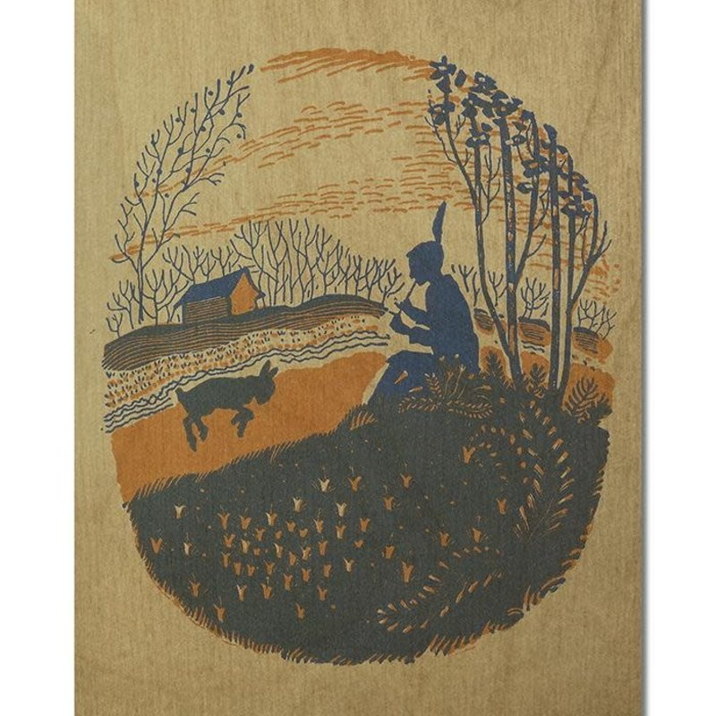 Volume One Wood Postcard - Shepherd w/ Lamb