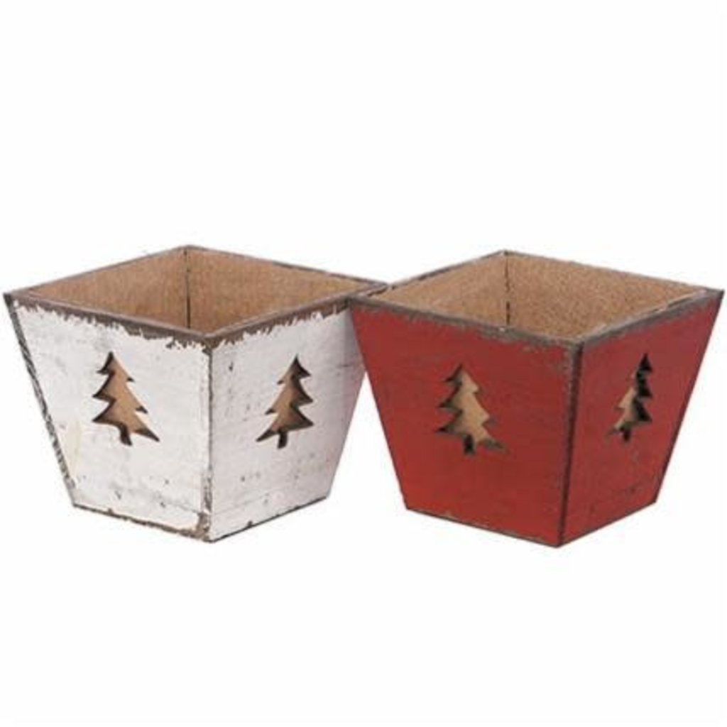 Volume One Holiday Tree Wood Planter (Assorted)