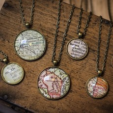 Volume One Vintage Wisconsin Map Pendant - Small