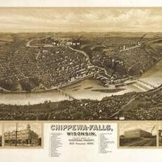 Volume One Chippewa Falls Panoramic Map 1907 Print (12x18)