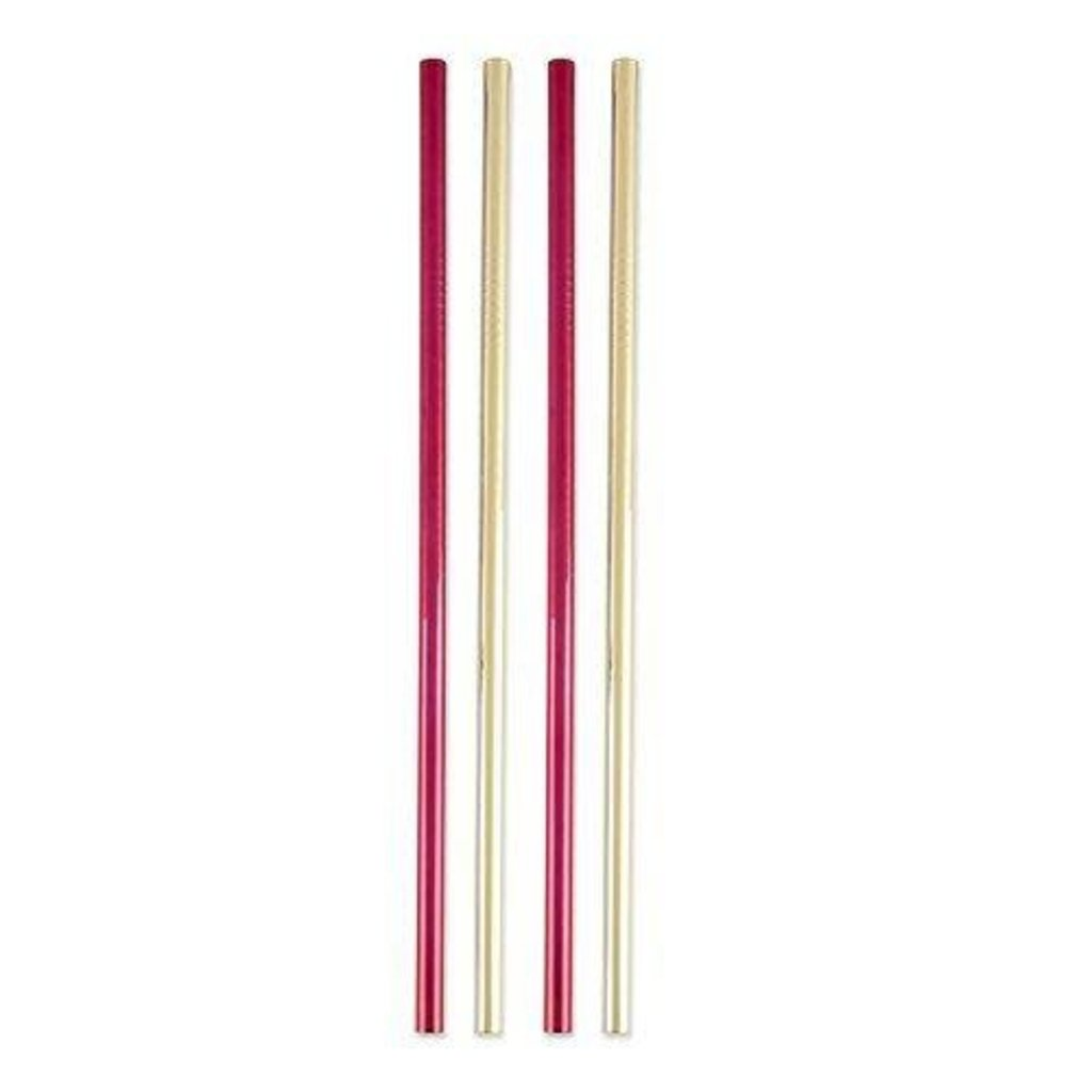 Volume One Stainless Steel Straws - Red & Gold (Set of 4)